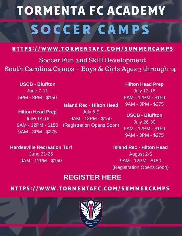 Tormenta Summer Camps 2021 Soccer Savannah Chatham County Statesboro Hilton Head Bluffton