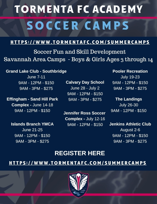 Tormenta Soccer Summer Camps 2021 Savannah Chatham County Hilton Head Bluffton Statesboro