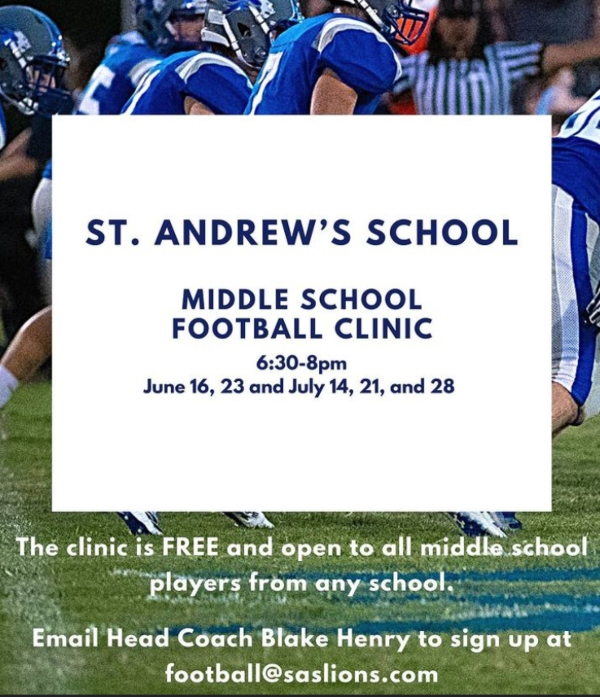 St. Andrew's School Middle School Football Clinic Free 2021 Summer Savannah