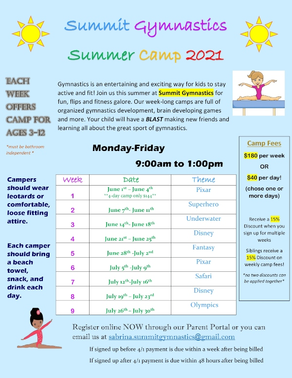 Summer Camp 2021 Summit Gymnastics Savannah Chatham County