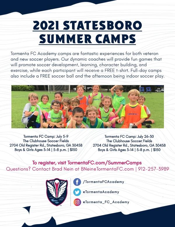 Tormenta Soccer Summer Camps Savannah 2021 Statesboro Hilton Head Bluffton