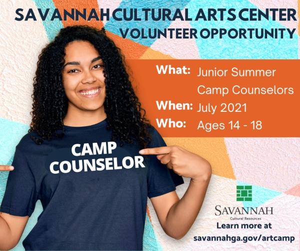 junior camp counselor opportunities jobs Savannah Cultural Arts summer 2021