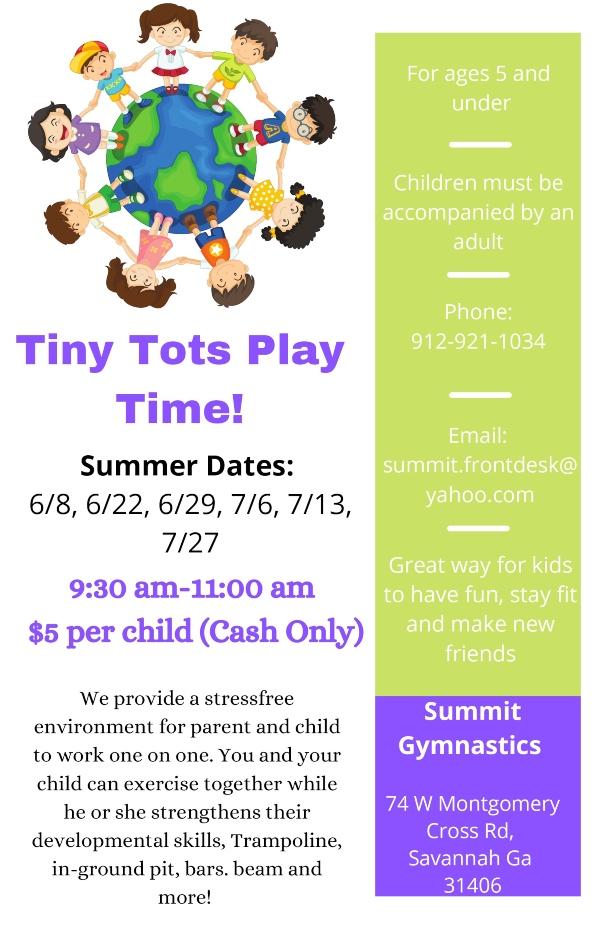 Tiny Tots Play Time Summit Gymnastics Summer Dates 2021 Savannah