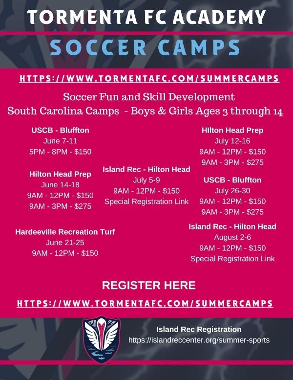 soccer summer camps savannah hilton head Bluffton Tormenta youth kids 2021