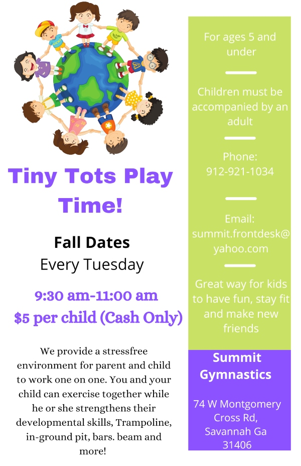 Tiny Tots Play Time Fall 2021 Tuesdays Savannah toddlers kids mommy me